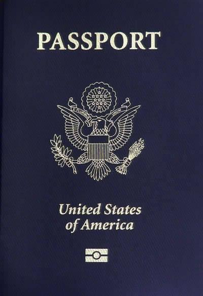 Regular U.S. passport with blue cover.