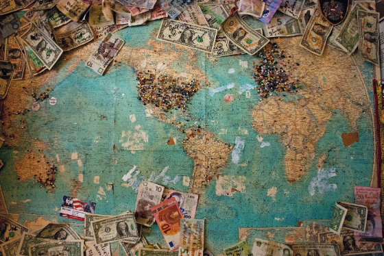 map with currency and pins