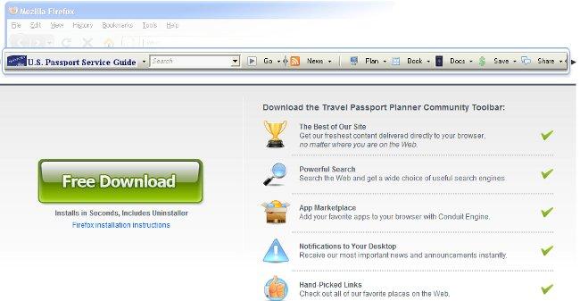 Travel Passport Planner Toobar