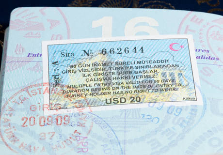 turkey visa and immigration stamps in US passport for Istanbul Turkey