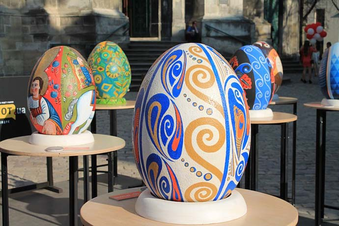 Large Decorated Easter Eggs in Ukraine