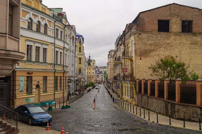 Historical buildilngs along narrow street in Kiev.