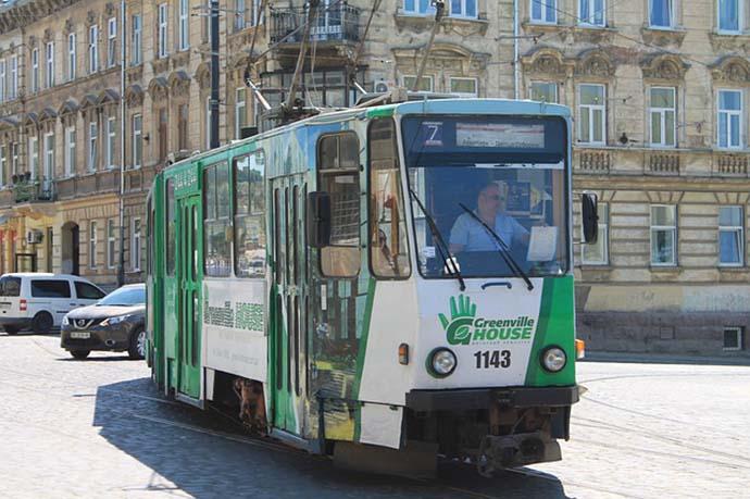 Tram in a Ukranian city.