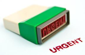 Red urgent stamp
