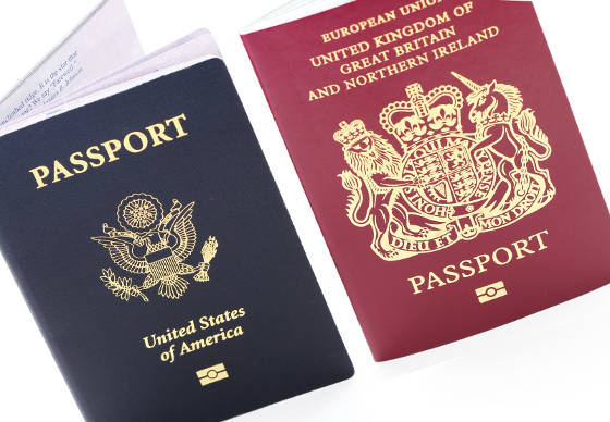 New United States and British Passport Books