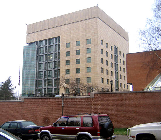 The new U.S. embassy in Moscow, Russia located at Bolshoy Deviatinsky Pereulok No. 8
