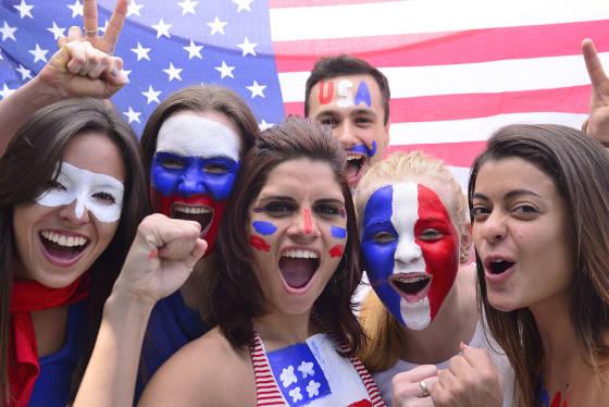 U.S. soccer team fans.