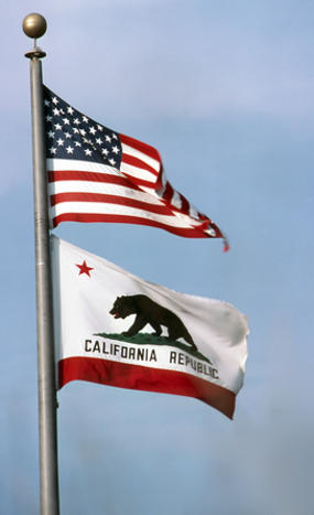 USA Flag and California Flag