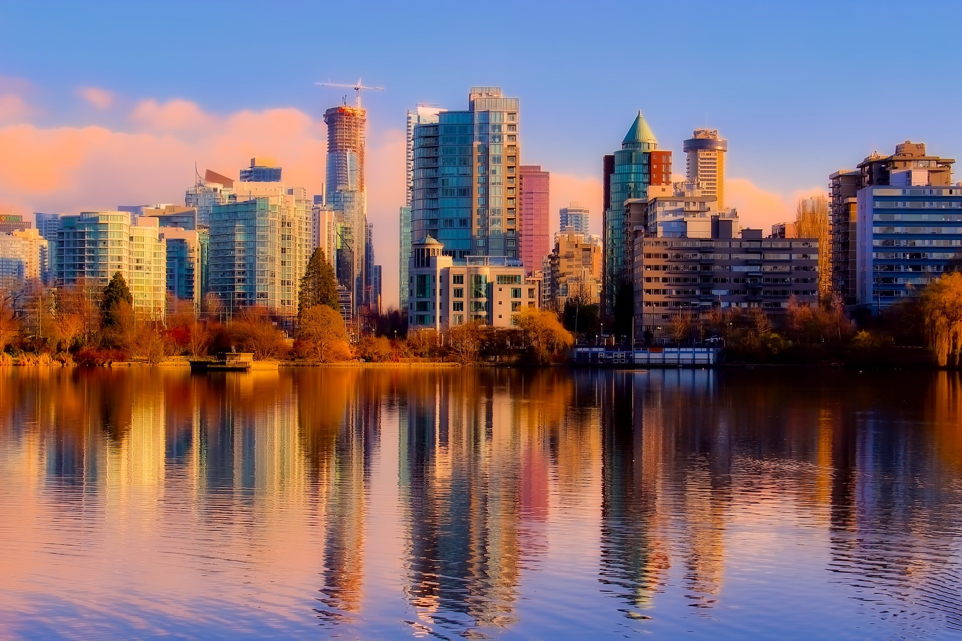 a view of the Vancouver, British Columbia skyline at dusk