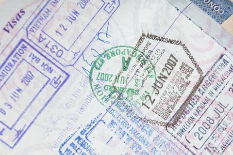 Visa Stamps in an American Passport