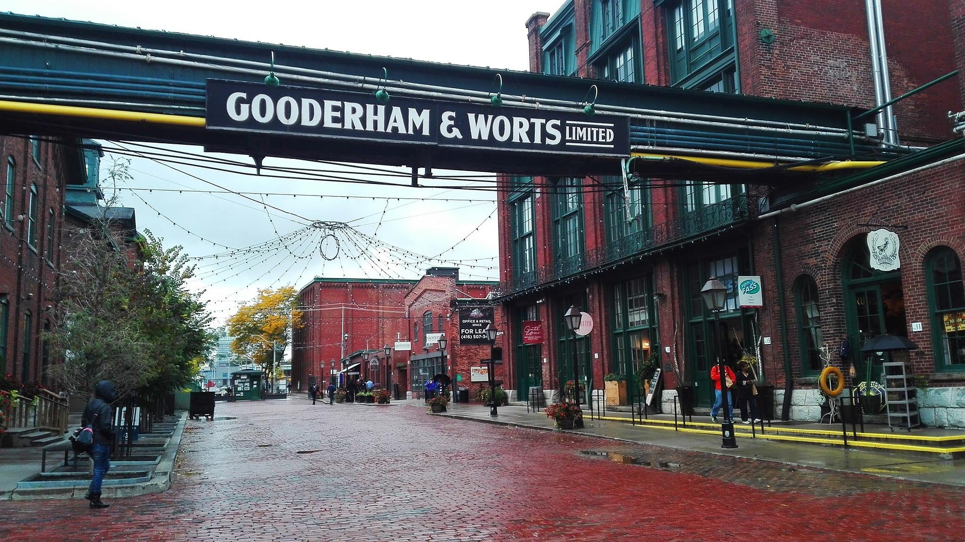 the entrance to the Gooderham & Worts Distillery in Toronto, Ontario's Distillery District