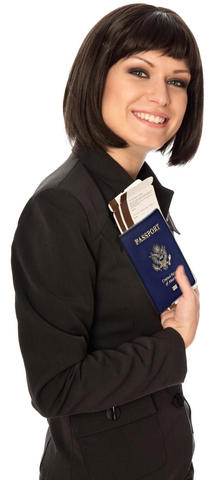 Woman holding United States passport and boarding pass