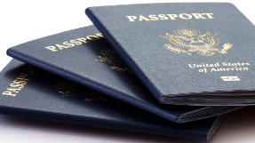 3 blue United States passport books