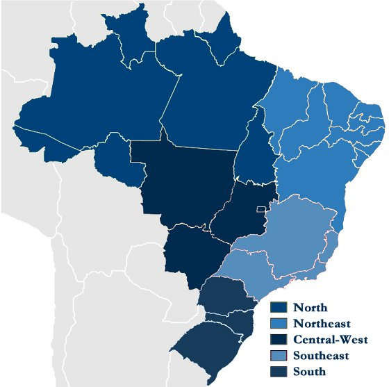 Map of the 5 Regions of Brazil: North, Northeast, Central-West, Southeast, South.