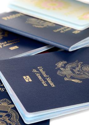 5 American passport books
