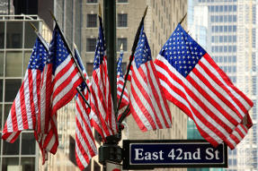 American Flags on 42nd Street in New York