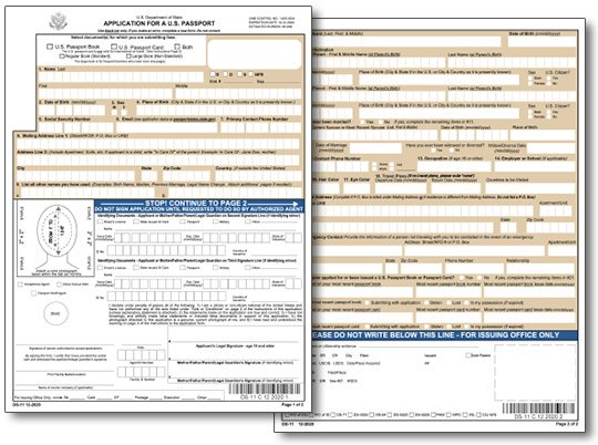 Application for a New Passport Form DS-11