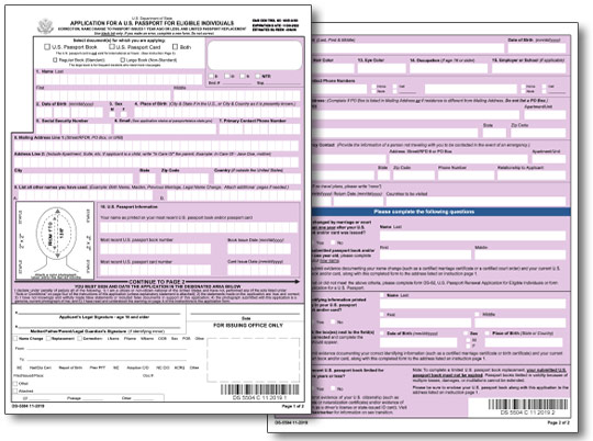 Application for a US Passport Name Change, Data Correction or Replacement of Limited Validity Passport Form DS-5504