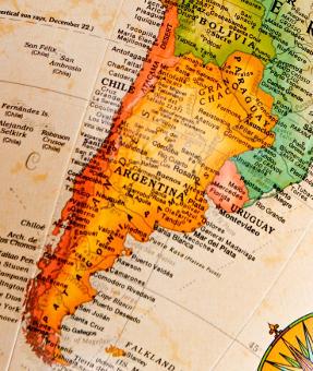 Argentina map on globe