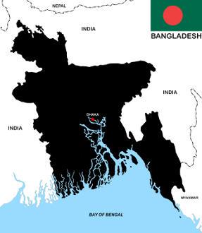 Bangladesh map and flag
