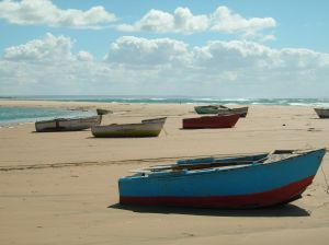 Boats on Mozambique Beach