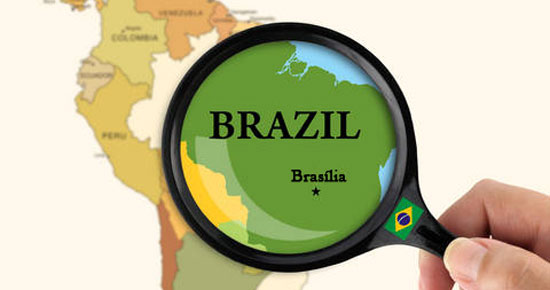 Map highlighting Brazil for the travel guide map