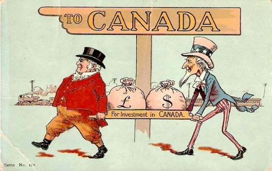cartoon of men carrying money into canada
