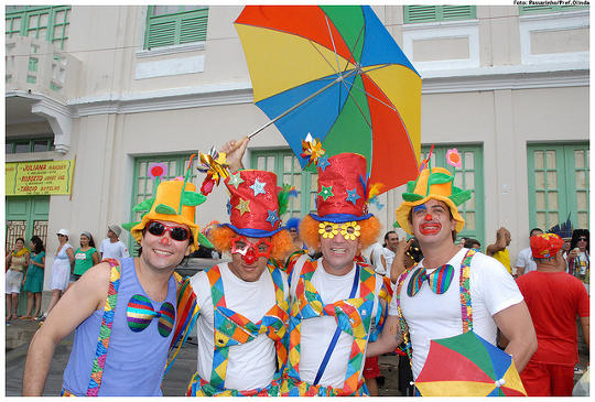 4 clowns at Carnival in Olinda Brazil.