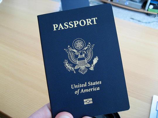 Closeup of epassport from United States