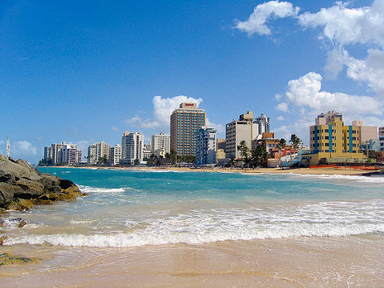 View of San Juan in background taken from Condado Beach.