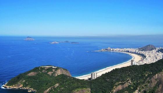 Copacabana Beach from a distance in Rio de Janeiro Brazil
