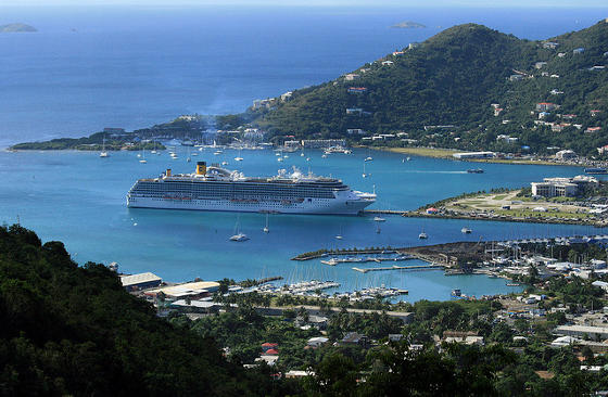 Photo takes from Big Mountain of cruise ship docked in Tortola, British Virgin Islands.