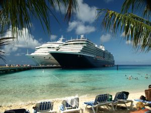 Two cruise ships docked in bay