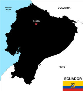 Ecuador map and flag