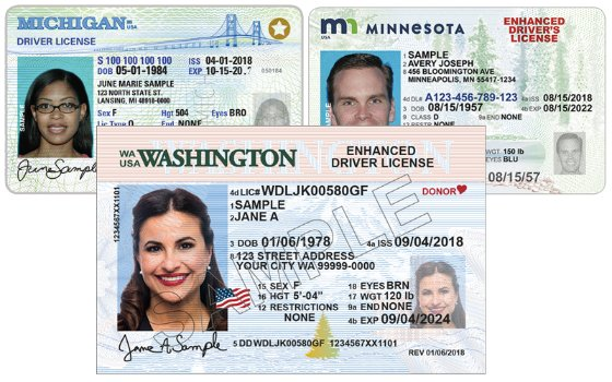 enhanced driver's licenses (EDLs) from three states