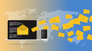 envelopes being sent to devices from around the world