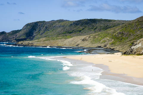 Golden sand beach and turquoise water of Fernando de Noronho Brazil