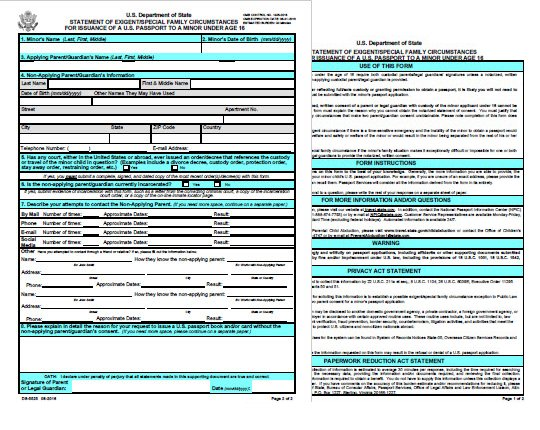 Form DS-5525: Statement of Exigent/Special Family Circumstances