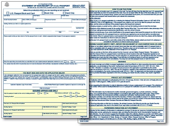 Form DS-86: Statement of Non-Receipt of U.S. Passport