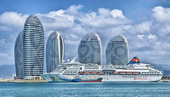 Cruise Ship in the Hainan China Harbor.