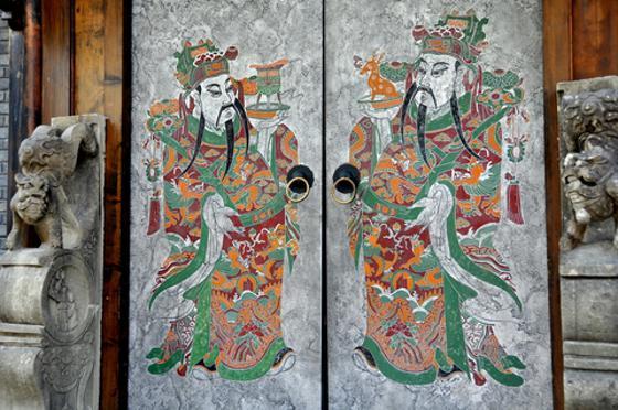 Hand-painted doorway in Chengdu China.