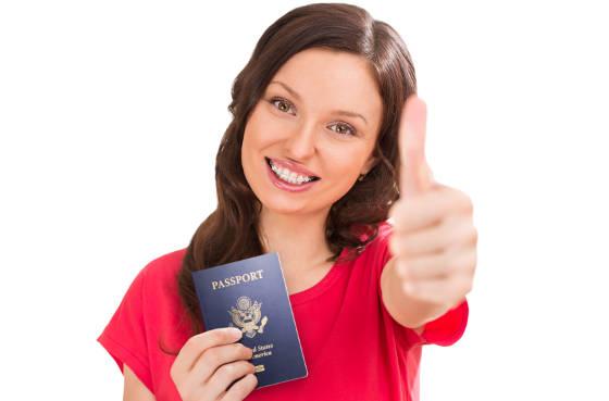 Happy passport bearer