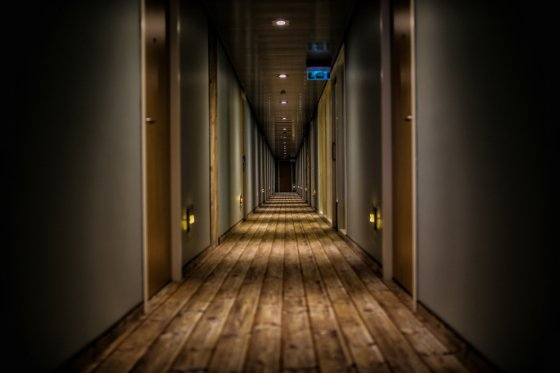 hotel hallway with night lighting
