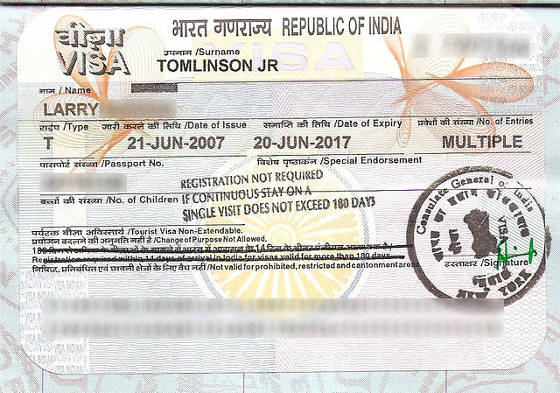 Visa for India in United States Passport.