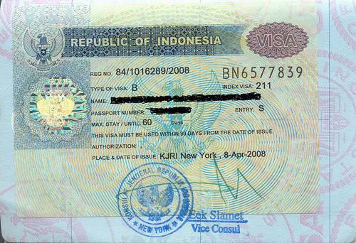 Indonesia visa sticker in United States passport issued at Consulate General of Indonesia in New York.
