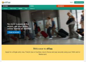 a screenshot of Kenya's eVisa application webpage