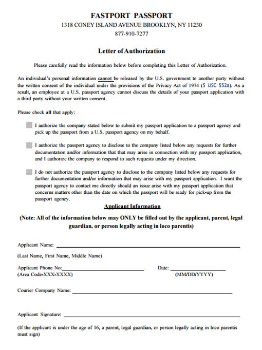 Third Party Passport Service for Hand Carry Applications – Sample Third Party Authorization Letter