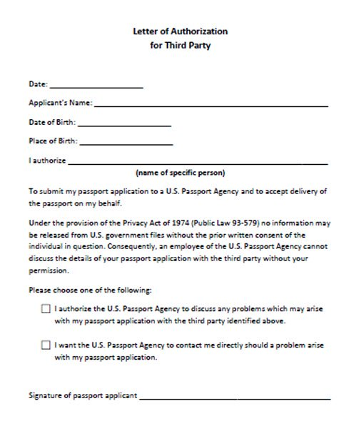 Letter of Authorization for Third Party
