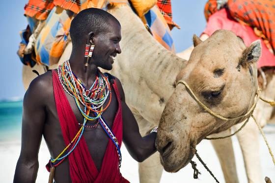 Maasai with Camel