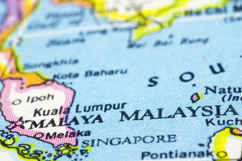 Map with close up of Malaysia